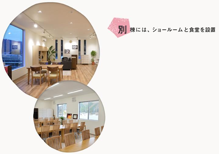 別棟には、ショールームと食堂を設置。